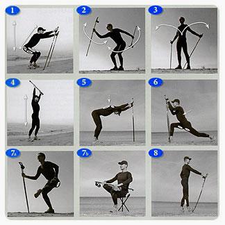Упражнения с палками для скандинавской ходьбы