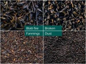 вверху слева: цельный лист, вверху справа_резаный лист, внизу слева_чайные высевки, внизу справа_чайная пыль